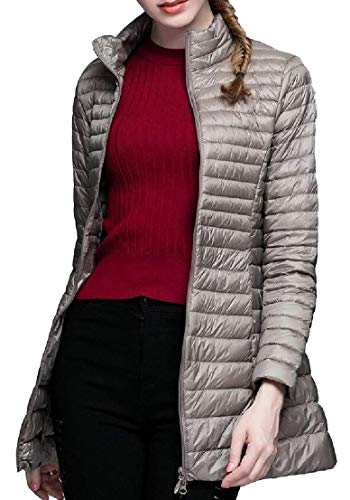 Lightweight Long Coats TTYLLMAO Stand Sleeve Down Jacket Collar 5 Women Long AXABOw