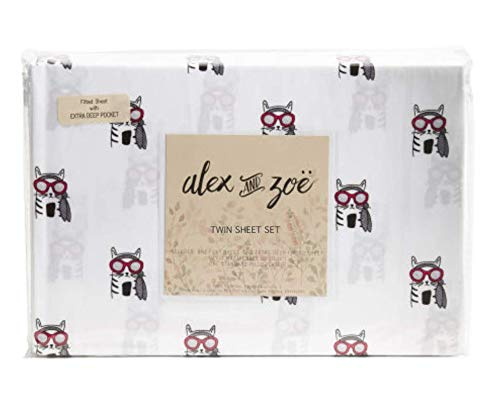 Alex and Zoe Cool Hipster Kitty Cat in Sunglasses Sheets in Red, Grey, Black on White - Cat Sheet Set for Kids & Adults ()