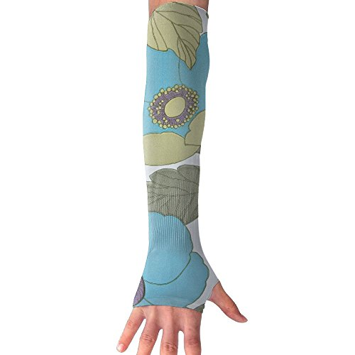 Blue Flower Leaves Ultra Long Non Finger UV Resistant Gloves Gloves Sleeve, For Women And Men To Provide Sunscreen Protection 1 Pairs, For Outdoor Sports, Driving, Bicycles by WEIFG