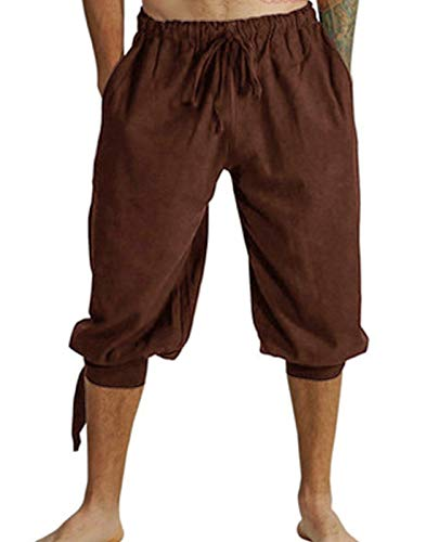 Mens Renaissance Pirate Costume, Medieval Viking Lace Up Knicker Gothic Pants Knee Length Cotton Linen Shorts (XL, Brown) -
