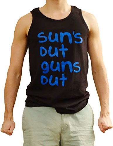 Encore Fabrics Men's Suns Out Guns Out Sleeveless 22 Jump Street Tanktop Large - Top Guy Costume Gun