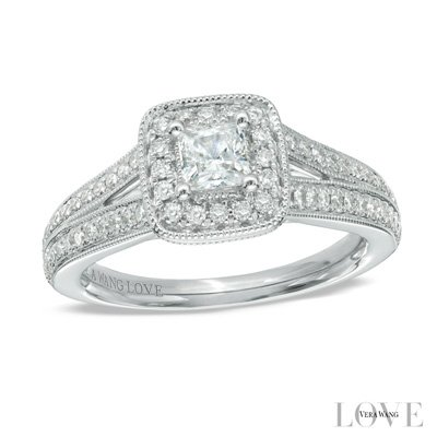 Love Collection 0.70 CT. T.W. Princess-Cut Lab Grown Diamond Vintage-Style Engagement Ring in 14K White Gold Size 4-13 -