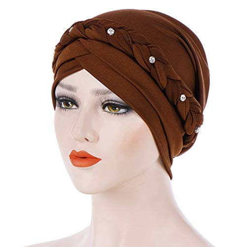 VEZAD Rhinestone India Hat Women Muslim Ruffle Cancer Chemo Beanie Turban Wrap Cap from VEZAD