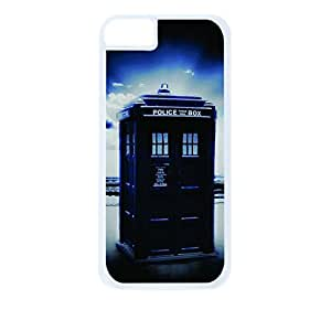 Tardis on the Beach-Hard White Plastic Snap - On Case with Soft Black Rubber Lining-Apple Iphone 4 - 4s - Great Quality!