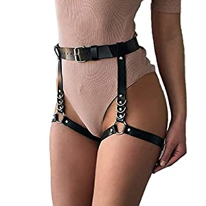 Victray Leather Waist Chain Belt Black Leg Chains Punk Body Chains Thigh Chain Fashion Body Jewelry for Women and Girls
