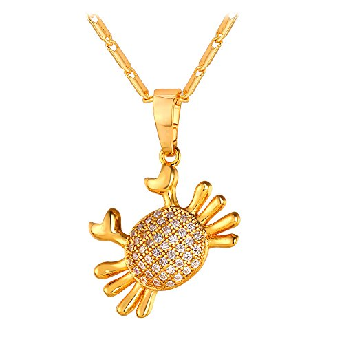 U7 Girls Cute Charm Necklace Cubic Zirconia Crab Pendant with Free 22 Inches Chain 18K Gold Plated CZ Zodiac Cancer (Cancer Charm Gold Plated)