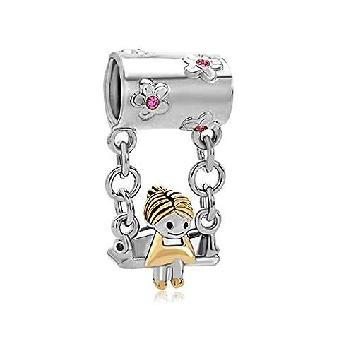 ThirdTimeCharm Sterling Silver Cute Little Girl Sitting On Swing Charm Beads For Bracelets - Sitting Girl