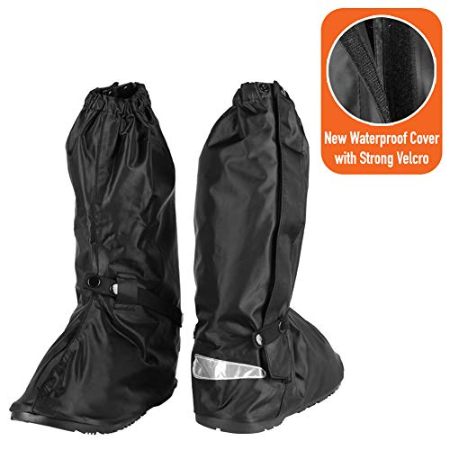 Waterproof Motorcycle Boot Shoe Covers size Men 10-11 with Reflective Heels and Sturdy Zipper Elastic Bands for Outdoor Hiking Camping Fishing to Keep Shoes Dry - Black (Rain Boots Motorcycle)