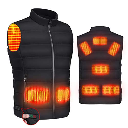 RYNX Heated Jacket Vest,USB Charging Warm Vest for Men Women, Built-in 8 Pcs Heating Pad,Washable Heated Casual Vest for Outdoor Hiking,Fishing,Hunting,Skiing,camping