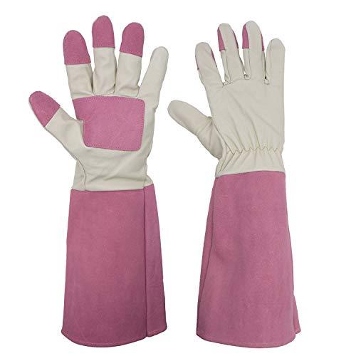 Rose Pruning Gardening Gloves for Men & Women, Thornproof Long Gauntlet Gloves, Pigskin Leather - Breathable & Durability (Medium) ()