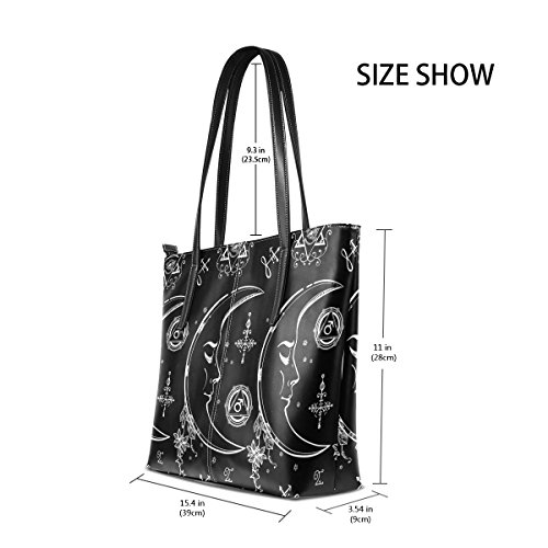 Handle Leather Shoulder Handbag And Fashion Top Women's Totes Moon Bags TIZORAX Purses PU Alchemy Magic vPwcqYa