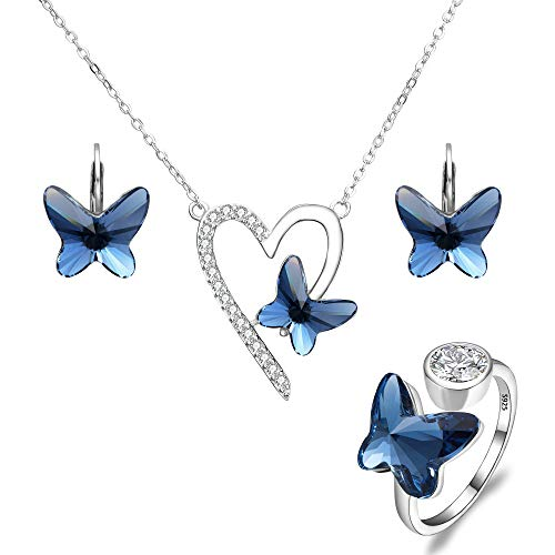 (EleQueen 925 Sterling Silver Love Heart Butterfly Denim Blue Made with Swarovski Crystals Pendant Necklace Stud Earrings Ring Set)
