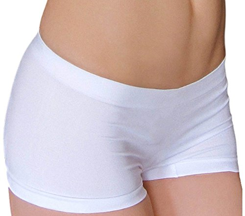 Short Fitted Stretch Tight Yoga Running Bike Exercise Shorts Underwear_White (White Hot Pants)