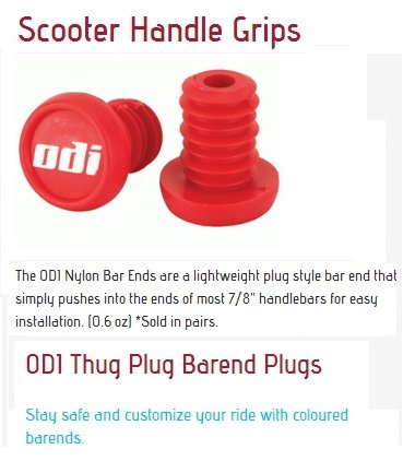 Odi Bar End Plugs For Scooters and BMX Bikes 1 Pair (RED)