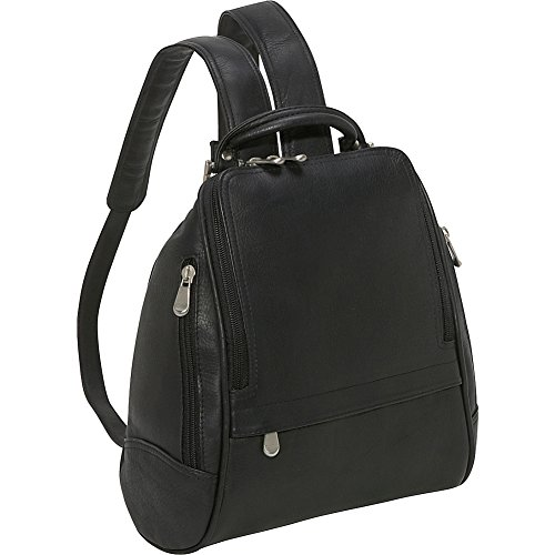 LeDonne Leather U Zip Mid Size Backpack - Black