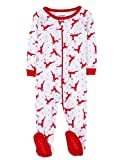 Leveret White Reindeer Footed Pajama Pajama Sleeper 100% Cotton (0-3 Months)
