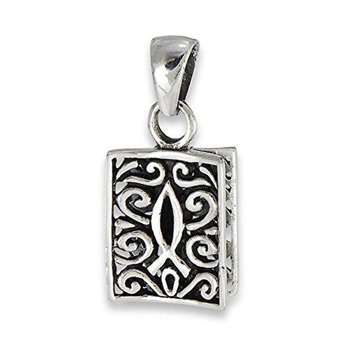 (Filigree Icthus Pendant .925 Sterling Silver Ornate Religious Scroll Fish Charm - Silver Jewelry Accessories Key Chain Bracelet Necklace Pendants)