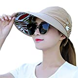 Sun Visor Hats for Women Large Wide Brim Foldable Summer Beach Hat UV Protection Caps (B-Khaki(Flower))