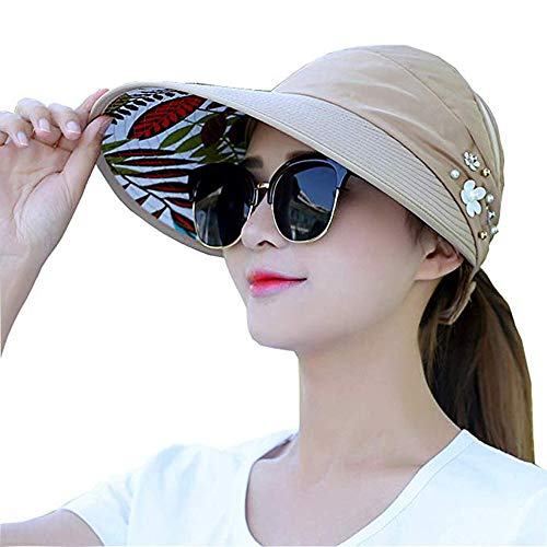 Sun Visor Hats for Women Large Wide Brim Foldable Summer Beach Hat UV Protection Caps (B-Khaki(Flower))