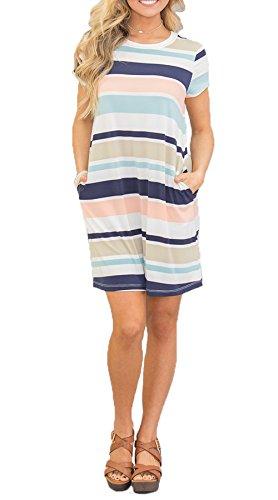 Chvity Women's Casual Dress Simple T-Shirt Mini Dress Loose Color Stripe Pockets (Multicolor(Prime Only), X-Large) by Chvity