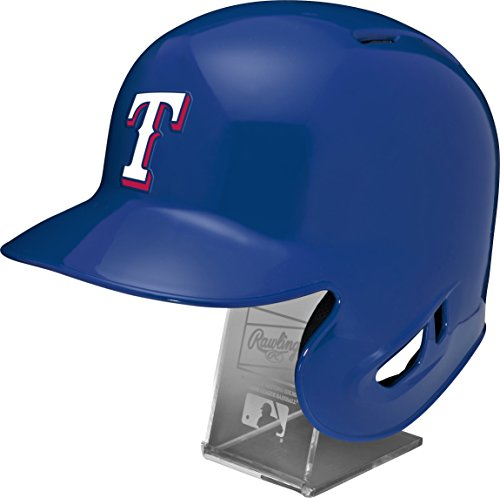 (Rawlings MLB Texas Rangers Replica Batting Helmet with Engraved Stand, Official Size, Blue)