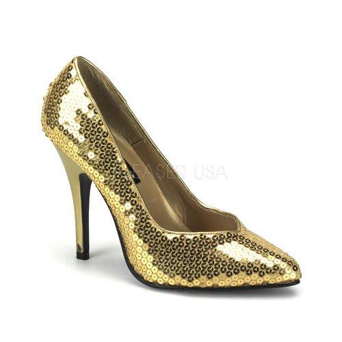 Pleaser Women's Seduce-420 Pump,Gold Sequins,8 M US (Pleaser Shoes On Sale)