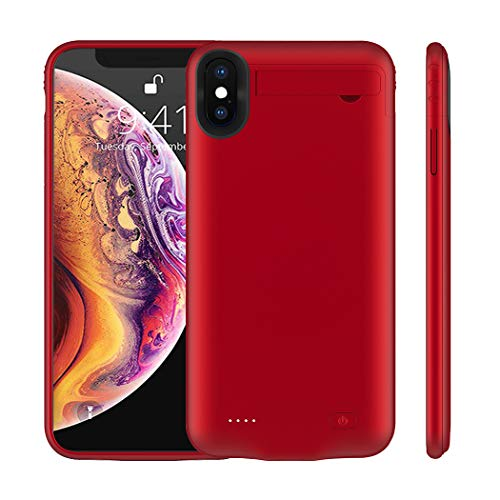iPhone Xs Max Battery Case, MAXBEAR 5200mAh Ultra Slim Rechargeable Extended Battery Portable Charger Case for Apple iPhone Xs Max [6.5 inch] with Kickstand Charging Case- Red