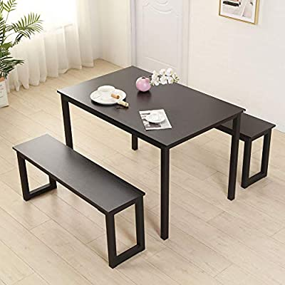 Bonnlo Modern Dining Set Kitchen Dining Table with 2 Benches 3 Pieces Black  Dining Room Table Set for Studio Apartment