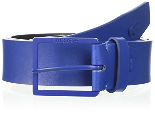 Classic Logo Belt Buckle - Lacoste Men's Classic Logo Embossed Buckle Belt, Indigo Blue, 110