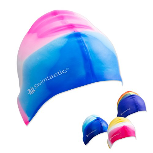 Design Womens Cap (Swimtastic - Tie Dye Silicone Swim Cap - 4 Fun Designs For Women, Men & Kids (Blue / Pink))