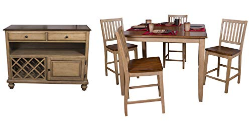 Sunset Trading DLU-BR4848CB-B60-SRPW6PC Brook Pub Dining Set, Counter Height, Distressed Two Tone Light Creamy Wheat with Warm Pecan top