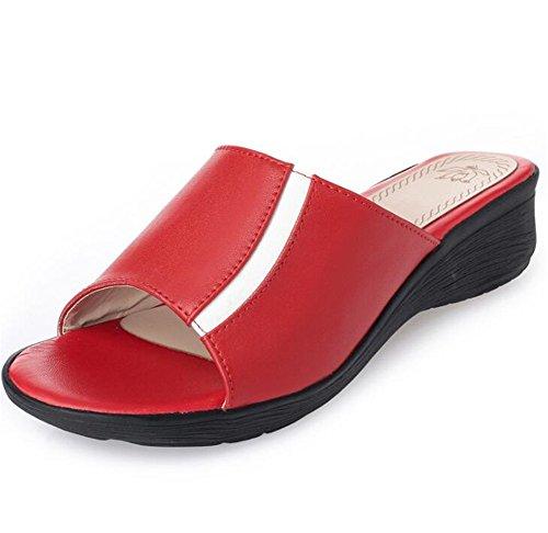 Sandalias de mujer Cuero Abuela anciana Antideslizante Cuña Madre Zapatilla Tamaño 35 a 42 Red