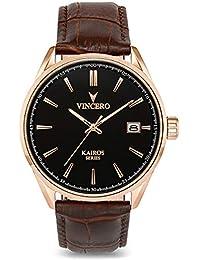 Luxury Men's Kairos Wrist Watch — Rose Gold with Brown...