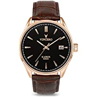 Vincero Luxury Men's Kairos Wrist Watch — Rose Gold with Brown Leather Watch Band — 42mm Analog Watch — Japanese Quartz Movement