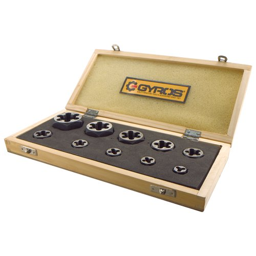 Gyros 93-16213  Left Handed Carbon Steel Hex Rethreading Die Set, 1/4-Inch to 1-Inch NF, - 28 Hex Die Nf