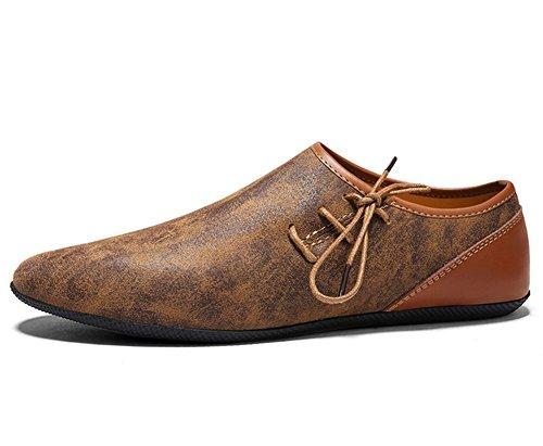 XIE Scarpe da uomo primavera-estate in pelle morbida fondo Casual Scarpe basse uomo Scarpe antiscivolo e stringate 38-43 brown