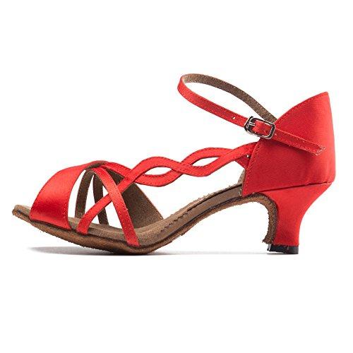 Hroyl Mujer Ty-b26 Zapatillas Satinado Estándar De Baile Latino Salón De Baile Rojo1