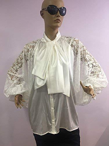 Satin blouse Puff sleeves blouse Bow tie satin blouse Satin Shirt White Lace Cocktail satin blouse, Formal satin blouse