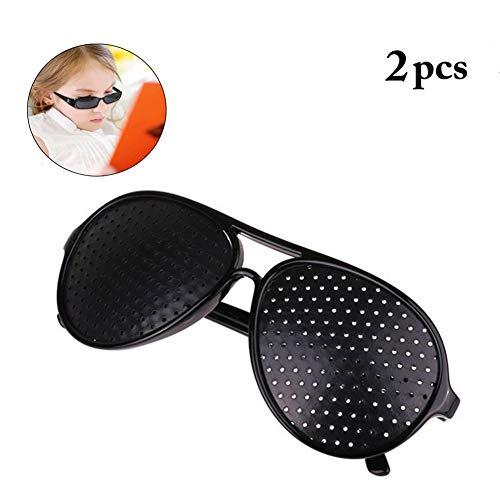 - 2 Pcs Black Pinhole Single Nose Glasses Microporous Anti-Fatigue Goggles Safety Swap Wraparound Hybrid Eye Safety Glasses/Goggles Fashion Retro Trend Decorative Mirror