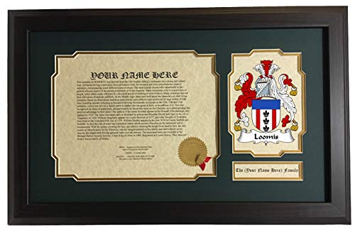 Loomis Collection - Loomis - Coat of Arms and Last Name History, 14x22 Inches Matted and Framed