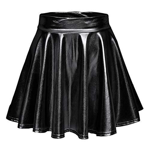 Regina George Costumes (Urban CoCo Women's Shiny Flared Pleated Mini Skater Skirt (S,)