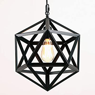 AIDOS Geodesic Pendant Light Industrial, Matte Black, Polyhedron Pendant Lighting Vintage Industrial Wrought Iron Metal Hanging Light Fixture for Bar,Restaurant, Cafe, Farmhouse,Barn
