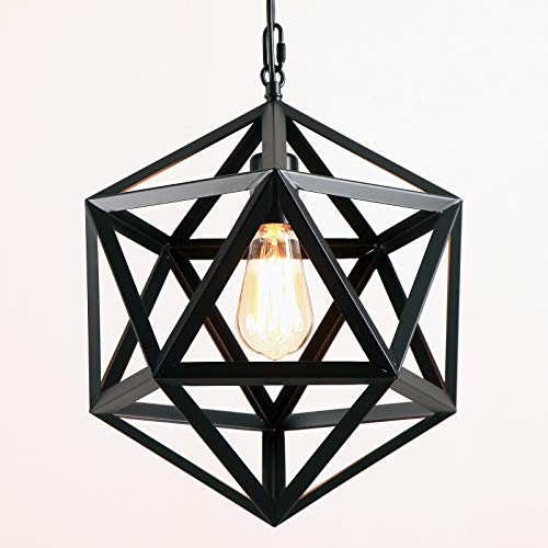 AIDOS Geometric Pendant Light Industrial, Matte Black, Polyhedron Pendant Lighting Vintage Industrial Wrought Iron Metal Hanging Light Fixture for Bar,Restaurant, Cafe, Farmhouse,Barn