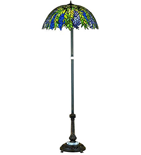 - Tiffany Style Stained Glass Light Honey Locust Floor Lamp