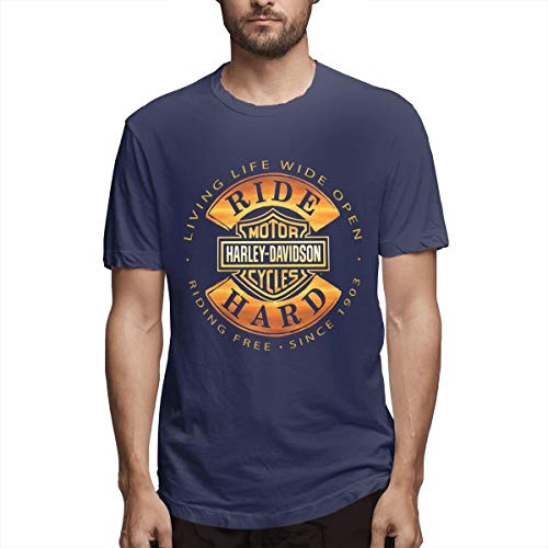 (Kaivi Harley Davidson Tshirts for Men Navy 29)