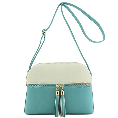 Accent Double Blue Zip Crossbody Bag Dome Tassel Dusty Ivory Medium xwTqpw