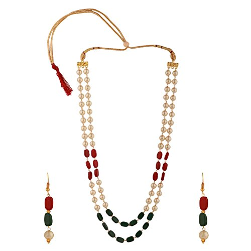 Efulgenz Indian Multi Layered Red Green Faux Ruby Emerald Pearl Beads Wedding Bridal Necklace Earrings Jewelry Set (Mala Beads Ruby)