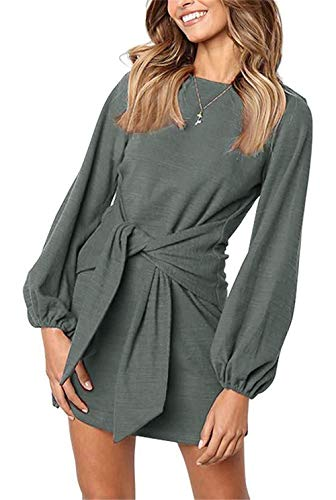 onlypuff Cute Dresses for Women Puff Sleeve Casual Tunic Top for Leggings Dark Gray M ()