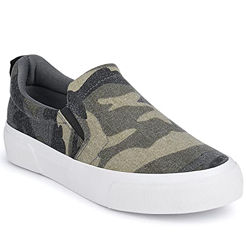 Women Slip on Canvas Sneakers Casual Canvas Shoes Low Tops Comfortable Flats Women Loafers Camo