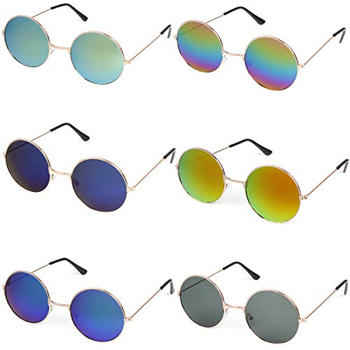 6 Pieces Round Hippie Sunglasses Retro Circle Glasses Hippie Dressing John Lennon Style Rimless Tinted Lens Glasses for Women,Men,Teenagers,Girls,Boys,6 Colors ()